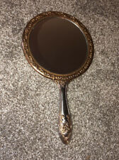 Vintage Silver Plate Hand Mirror Floral Repousse Vanity