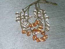 Estate Multistrand Goldtone Chain with Light & Dark Orange Plastic Bead Fringe