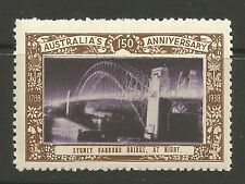 Australia 1938 150th Anniversary poster stamp (Sydney Harbour Bridge At Night)