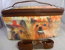 Travel Makeup Cosmetic Bag Case or Handbag Decorated Dog Images w Strap & Handle