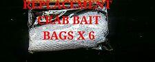 6 x REPLACEMENT CRAB LINE BAIT BAGS FISHING CARP MESH washing machine