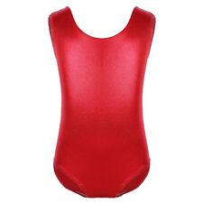 Girls Solid Color Metallic Leotard Ballet Dancewear Gymnastics Jumpsuit Tank Top
