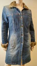 MARELLA Women's Denim Blu Beige in finta pelliccia colletto e polsini casual cappotto gb12
