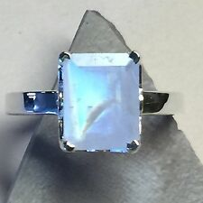 Genuine Emerald Cut Rainbow Moonstone 925 Solid Sterling Silver Ring sz 4