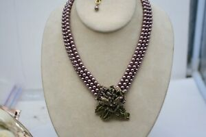 HEIDI DAUS PINK ROSE  3 STRAND FAUX PEARL NECKLACE