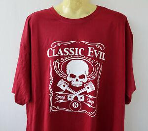 Skull T-Shirt Classic Evil 5XL Sonar Übergrösse Vintage Rockabilly Weinrot