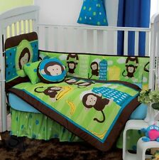 New Baby Boys DANY JUNGLE MONKEY Green Brown Nursery Crib Bedding Set 5 Pieces