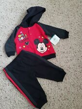 New Disney Baby Boy Mickey Mouse Set 3 6 Pants Hoodie Red Black Fall Shirt Ears
