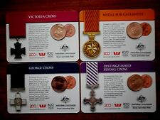 """2017 Legends of the Anzacs Coin Collection Set 4 X """"Copper"""" 25 Cents Coins"""