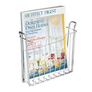 iDesign Classico Metal Wall Mount Magazine Rack, Newspaper and Book Holder for