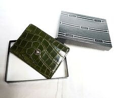 GIANNI VERSACE cardholder green wallet boxed croc leather press medusa head