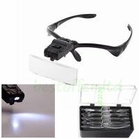Headband LED Lamp Light Jeweler Head Magnifier Magnifying Glass Loupe & Lens NEW