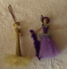"Lot of 2 Doll Ornaments Ornament Christmas 8"" Tall"
