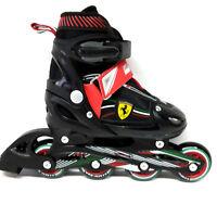 Ferrari Inline Skate verstellbare Kinder Inliner  schwarz rot Gr. 30-33 Abec 5