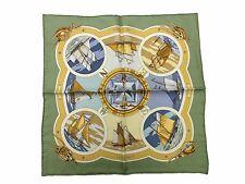 Auth Excellent HERMES Petit Scarf 100%Silk BELLES AMURES Green Multi-Color 36186