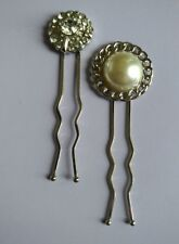 Half Pearl Chain link and Rhinestone Hair Pins Set Of 2 Handmade On Silver Tone