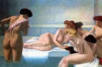 Oil painting Félix Vallotton - The Turkish bath young girls bathers nudes figure