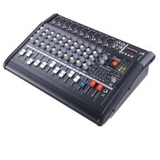 10 Channel Powered Audio Mixer Power Mixing Amplifier Amp Peak LED w/ USB Slot