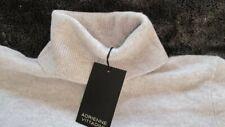 """luxe 100% cashmere Adrienne Vittadini polo neck JUMPER silver grey L 38"""" bnwt"""
