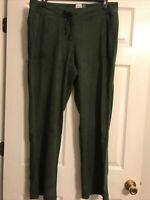 Women's Tek Gear Micro Fleece Pants Green XXlarge 2XL Drawstring Pockets NWT