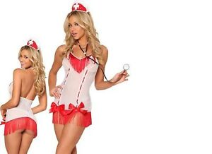 RED Halloween SEXY NURSE NAUGHTY COMPLETE OUTFIT COSTUME FANCY DRESS FETISH HEN