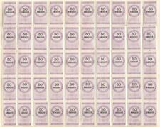Liechtenstein revenues 1879 complete sheet 50 Kreuzer MNH/MH Stempelmarke fiscal