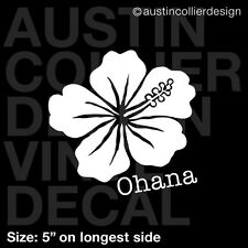 "5"" OHANA HIBISCUS vinyl decal car truck window laptop sticker - hawaii flower"