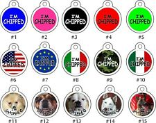 Cute Custom Personalized Pet ID tag for Dog and Cat ROUND Tag i'm CHIPPED unique