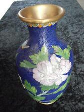 Vase Cloisonné Kunsthandwerk Email Vase China um 1900 floral Insekt Höhe 21cm