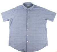 Peter Millar Mens Large Featherweight Button Front S/S Shirt Blue White Check