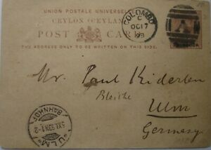 1893: 3 cents on 10 cents brown Postcard: Colombo to Ulm.