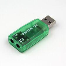 3D USB externa verde virtual 5.1 canales Tarjeta de sonido Audio Conversor Adaptador