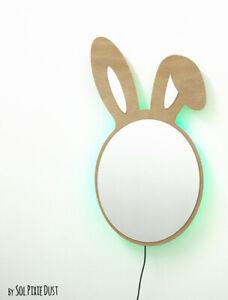 Safety Mirror Bunny Ears with LED light - Wall Decor Mirror - Nursery Kid Mirror