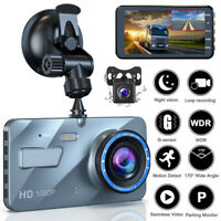 "4"" 2.5D HD 1080P Dual Lens Car DVR Video Recorder Dash Cam G-Sensor +Rear Camera"