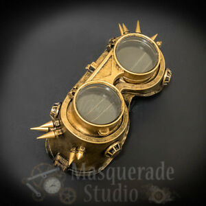 Mens Steampunk Gold Spiked Flip Up Lens Safety Goggles Masquerade Accessory