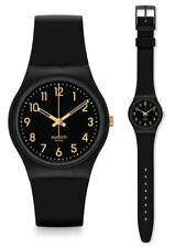 SWATCH original Gent Dorado TAC Reloj GB274 Análogo plástico negro