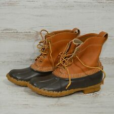 LL Bean Tan Leather Brown Rubber Duck Boots Women's Size 7