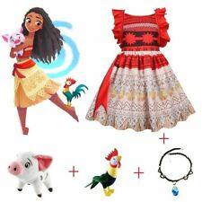 Summer Moana Dress Princess Dresses Kids Party Cosplay Costumes With Toy