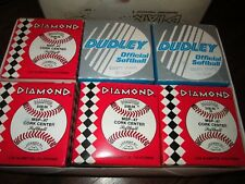 "4 New Diamond Red stitch Softballs 12"" Leather D100-Rk Nd 2 New Dudley Cs-12 Lrf"