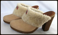 Hunter Women's Brunson Beige Shearling Leather Mules Shoes Clogs Size 8