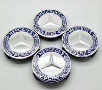For Mercedes Benz Wheel Emblem Hub Center Caps Badge Cover Blue 75mm 4PC/set