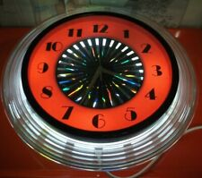 70er Casino Watch with Lighting Wall Clock Plastic Metal Power Battery Vintage