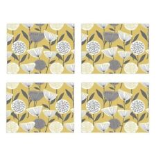 Pack Of 4 Placemats and Coasters Mustard Yellow Grey