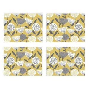 Set of 4 Place-mats And Coasters Mustard Floral Yellow Grey Home Table Mats