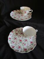 2 SET LEFTON China Cups & Plates Rose Chintz Pink Snack Sets Lunch Plate Tea Cup