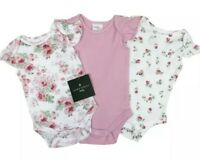 LAURA ASHLEY BABY GIRLS  3 PACK PINK ROSE BODYSUITS VEST COTTON SIZES 0 -9MTH