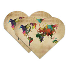 Colorful Rainbow Map of the World Earth Heart Faux Leather Bookmark Set