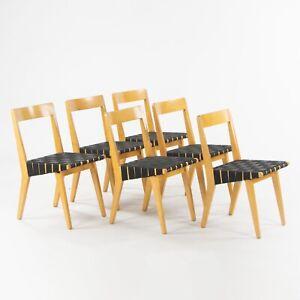 1946 Jen Risom 666 WSP Side Chairs Black Webbing for Knoll Associates Set of Six