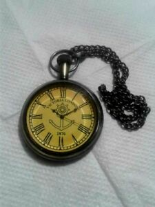 1876 VICTORIA LONDON VINTAGE ANTIQUE MARITIME POCKET WATCH WITH LEATHER CASE