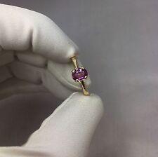 Natural 0.80ct non riscaldata Rosa Viola Zaffiro Anello 9k Oro Taglio Ovale Solitario